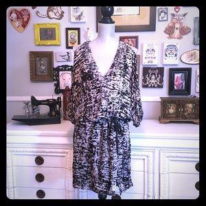 Velvet Burnout Cold Shoulder dress, tie waist